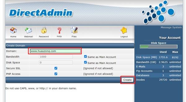 Create Domain